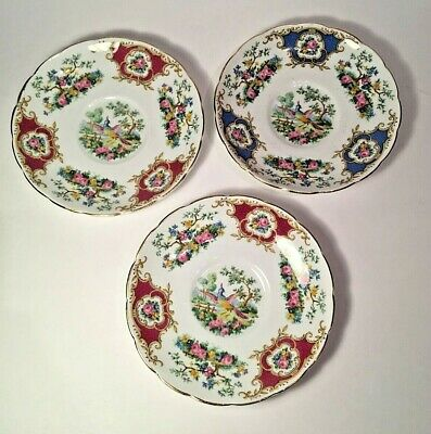 Lot of three Foley Broadway Bone China Saucer England Blue and Red Gold Rim