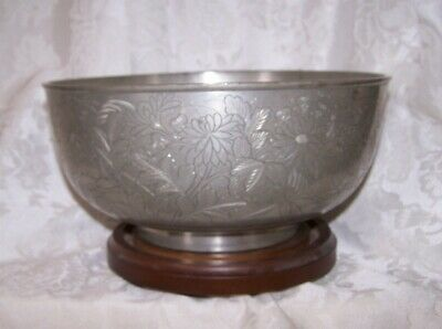 RARE 18TH-19TH Antique Chinese Engraved PAKTONG ? Pewter SEAL MARK LARGE  BOWL