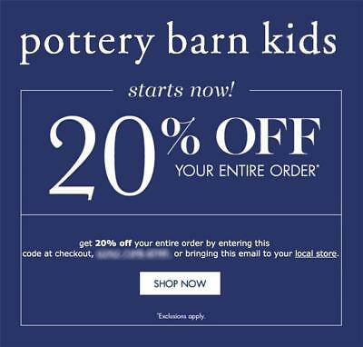 20% off POTTERY BARN KIDS coupon code online/in stores Exp 8/25/19 10 15