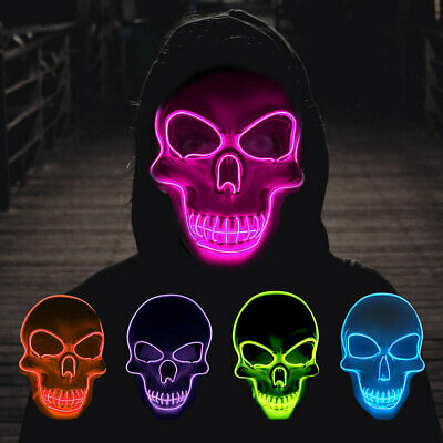 Halloween Light Up Mask Terror Purge LED Mask For Cosplay Halloween Bar Party UK