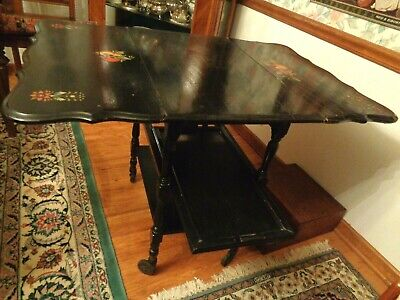 Vtg Black Wood Stenciled Tea Cart w/ Removable Tray Shelf Flip Down Sides Wheels