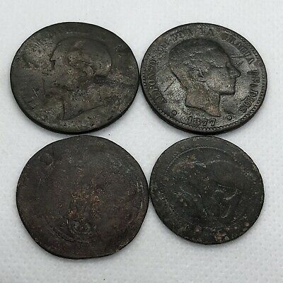 4 1700's Or 1800's Old World Coins Antique European Copper Token Numismatic