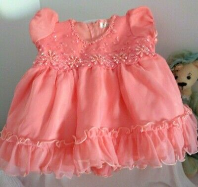 Pretty Beaded Vintage Baby Dress For Reborn/Larger Dolls