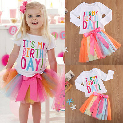 USA Baby Girl Kid Toddler T-shirt+Skirt Short Dress Outfit Set Birthday Clothes