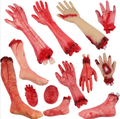 Fake Bloody Hand Prank Halloween Props Scary Severed Latex Body Parts Decor