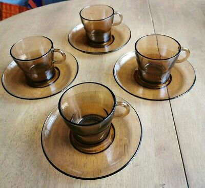 French Duralex Vintage Amber Glass Coffee Cups And Saucers