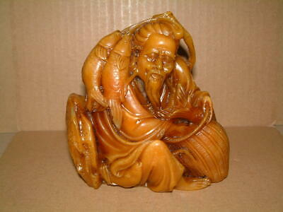 Superb Hand Carved Vintage Shou Shan Stone Chinese Sculpture -  Fisherman