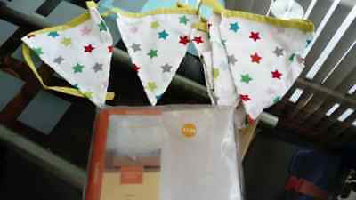 Baby Nursery Bunting Lime Multi Stars Cotton Wall Hanging Decor Brand New