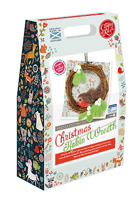 Christmas Robin Wreath Needle Felting Kit and The Crafty Kit Company