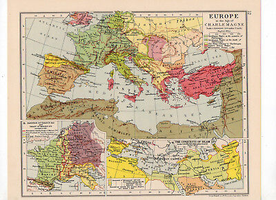 C1931 Antique Map Of Europe Age Of Charlemange Islam George Philip & Sons