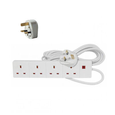 4 Way 4 Gang Extension Lead Extention Lead 2M/5M/3Pin 4 Sockets/Gang 13A Plug