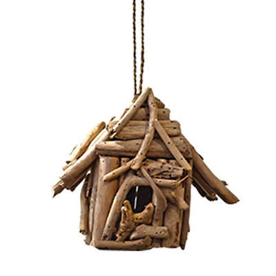 Vie Naturals Bird House, Driftwood, Square ,Approximately 30cm Hanging Height