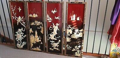 Vintage Asian/Oriental Mother Of Pearl Wall Art Panels