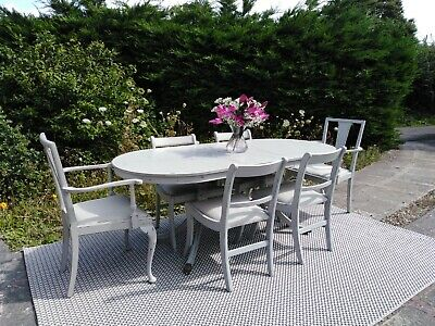 Lovely Extending Dining Table & 6 Chairs.Paris Grey. Shabby Chic. Can Deliver.