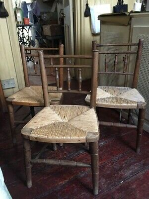 Victorian Country Style Rush Seated Bobbin Back Childrens Chairs - Set of 3