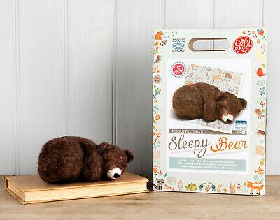 Sleepy Brown Bear Needle Felting Kit by The Crafty Kit Company