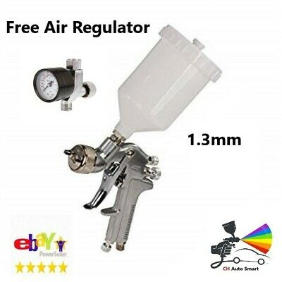 Duren 521805 Gravity Feed Paint Spray Gun 1.3mm Set-up FREE Air Regulator Gauge