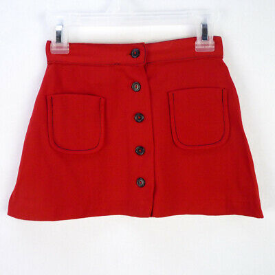 Vintage 70s Red Nylon Knit Flare Mini Skirt Girls 6 S Button Up Front Pockets