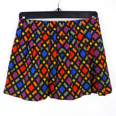 Vintage 70s Kaleidescope Plaid Knit Mini Skirt Girls S Stained Glass Rainbow