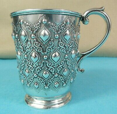 Beautiful Victorian Sterling Silver Mug Oval Bead Textured George Angell 1863