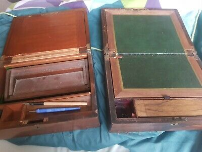 Pair Antique Wooden Writing Cases