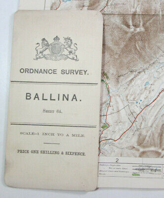 1899 Old OS Ordnance Survey Ireland One-Inch Second Edition Map 64 Ballina