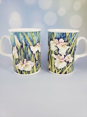 2 Vintage Duchess Fine Bone China Mugs, Floral Design, from the 1980's