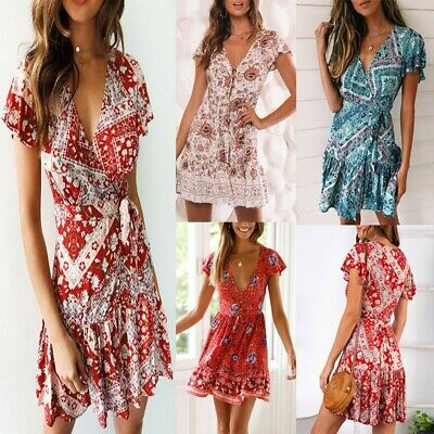AU Women VNeck Boho Floral Ruffled Mini Dress Ladies Summer Beach Party Sundress
