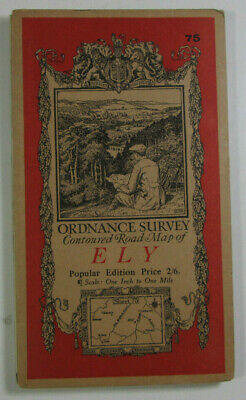 1920 Old Vintage OS Ordnance Survey Popular Edition One-Inch Map Sheet 75 Ely