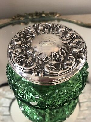 Antique Repousse  MAUSER Sterling Silver Vanity Powder Jar Box GREEN GLASS