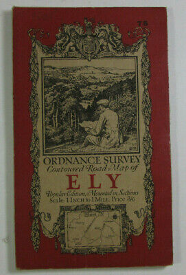 1920 Old Vintage OS Ordnance Survey Popular Edition One-Inch di Map Sheet 75 Ely