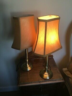 Pair Of Lovely Table Lamps Brass Style With Gold Textured Shades 20Inches High