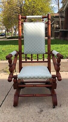 Antique 19th Century Glider Rocker Wood Upholstered Chair