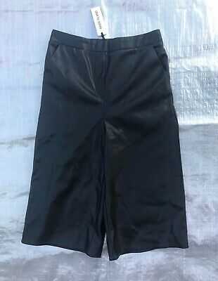"Bnwt Girl's "" River Island "" Black Faux Leather Culottes - 10 Years !"