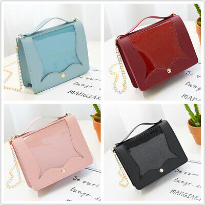Ladies Square Shoulder Handbag Purse Leather PU Chain Band Cross Body Side Bag