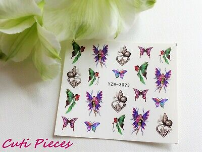 Nail Art Heart Filigree Butterfly Lace Flower Water Transfer Decal Sticker 093