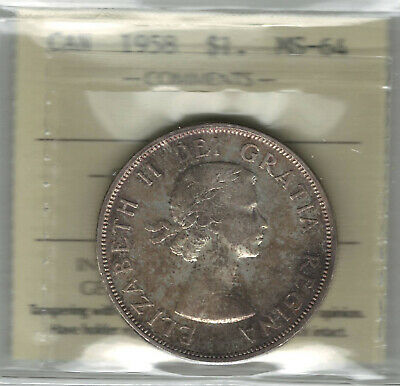 Canada 1958 Silver Dollar ICCS MS64 Toned