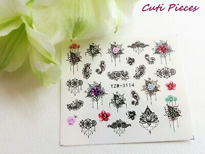 Nail Art Filigree Lace Flower Necklace Droplet Water Transfer Decal Sticker 114