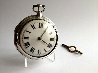 Antique Solid Silver Georgian Doubled Cased Verge Fusee Pocket Watch
