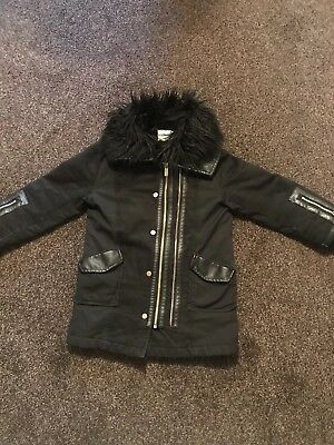 Girls Designer River Island Used Warm Coat Age 5 Trendy Good Condition Winter