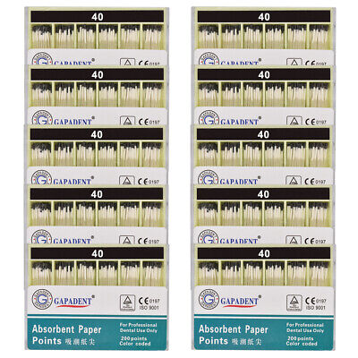 10Packs Absorbent Paper Points Root Canal Endo Cotton Fiber 0.02 40# Dental CE