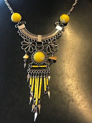 Vintage Modernist Yellow Egyptian Revival Glass & Silver Tone Pendant Necklace