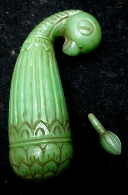 Antique Natural Green Carved Mutton Chop Jade Peacock Head Perfume Bottle Mughal