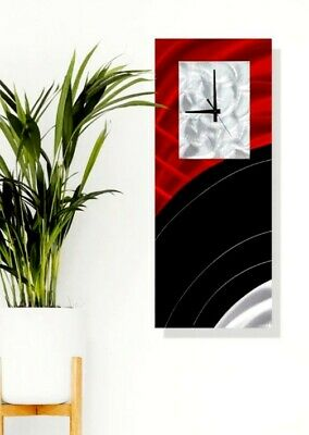Metal Wall Sculpture Clock Hanging Art Red Black Silver Modern Decor Jon Allen