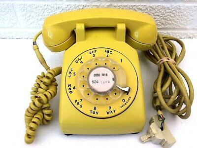 Bell Systems Desk  Rotary Dial Telephone, C/d 500 3-74 3 Wire Vintage Yellow!