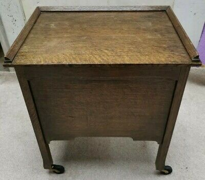 Antique Oak Sewing Box Chest On Wheels