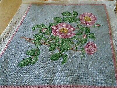 Vintage Hand Embroidered Wool Needlepoint Tapestry Panel