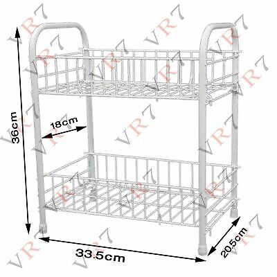 Pack of 2 Dish Drainer 2 Tier Rack Storage Sink Drying Wired Draining Plate Bowl
