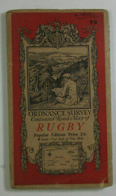 1920 Old Vintage OS Ordnance Survey Popular Edition One-Inch Map Sheet 73 Rugby