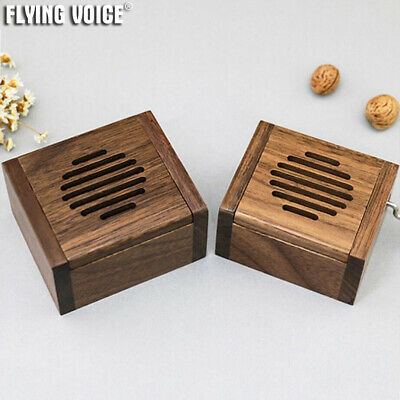 Mini Walnut Square Megaphone Music Box 16 Melodies Choice Ornament Creative Gift